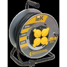 "Катушка ІЕК УК40 на мет, с термозащитой, 4 гнезда 2Р+PЕ 40 м КГ 3х1,5 мм2 IP44 ""Professional"" (WKP16-16-04-40-44)"